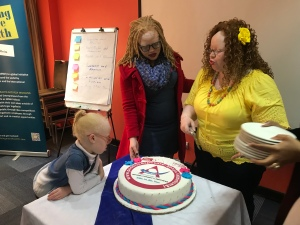 """The launch cake for """"Albinism and I"""""""